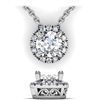 Round Brilliant Diamond Halo Necklace with Filigree 1 1/5ctw.