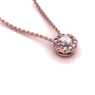 Mini Angel Halo Diamond Necklace .15ctw.