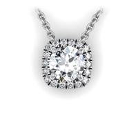 Cushion Shaped Diamond Halo Necklace 1/3ctw.