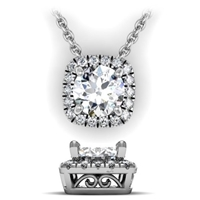 Cushion Shaped Diamond Halo Pendant with Filigree 1/3ctw.