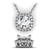 Cushion Shape Diamond Halo Necklace with Filigree 5/8ctw.