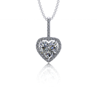 Heart Light Diamond Halo Pendant 5/8ctw.