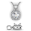 Cushion Shape Diamond Halo Pendant with Bail 7/8ctw.