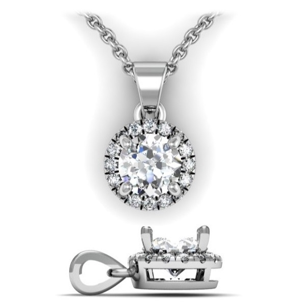 Brilliant diamond halo pendant with bail 38ctw round brilliant diamond halo pendant with bail 38ctw aloadofball Gallery