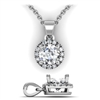 Round Brilliant Diamond Halo Pendant with Bail 3/4ctw.