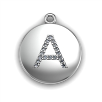 Sterling Silver Diamond Initial Disc Pendant