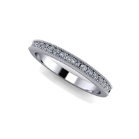 Shared Prong Channel Set Diamond Band with Milgrain Finish 1/5ctw.