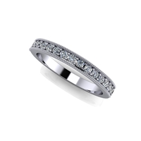 Shared Prong Channel Set Diamond Band with Milgrain Finish ¼ctw.