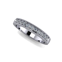 Shared Prong Channel Set Diamond Band with Milgrain Finish ½ctw.