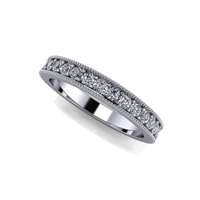 Shared Prong Channel Set Diamond Band with Milgrain ¾ctw.