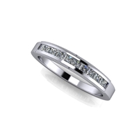 "Princess Cut Channel Set Diamond Band with Milgrain Finish â…""ctw."