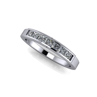 Princess Cut Channel Set Diamond Band with Milgrain Finish ½ctw.
