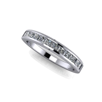 Princess Cut Channel Set Diamond Band with Milgrain Finish ¾ctw.