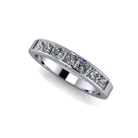 Princess Cut Channel Set Diamond Band with Milgrain Finish 1ctw.