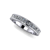 Princess Cut Channel Set Diamond Band with Milgrain Finish 1 1/5ctw.