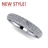 Three Row Pave Domed Diamond Band 2.62ctw.