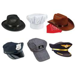 6 Pc Hat Fedora Police Chef Cowboy Train Engineer , AEAHBNB14