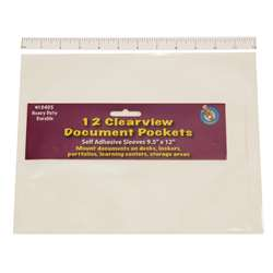"Clear View Self-Adhesive 12/Pk Document Pocket (9 1/2"" X 12"") By Ashley Productions"