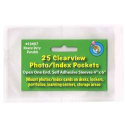 "Clear View Self-Adhesive 25/Pk Pockets Photo/Index Card (4"" X 6"") By Ashley Productions"