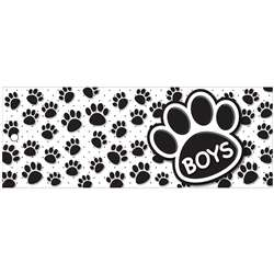 Boys Pass 9X35 Black Paws 2 Sided Laminated, ASH10729