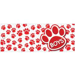 Boys Pass 9X35 Red Paws 2 Sided Laminated, ASH10733