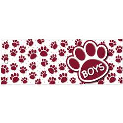 Boys Pass 9X35 Maroon Paws 2 Sided Laminated, ASH10739