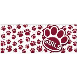 Girls Pass 9X35 Maroon Paws 2 Side Laminated, ASH10740