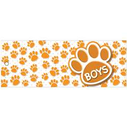 Boys Pass 9X35 Orange Paws 2 Sided Laminated, ASH10741
