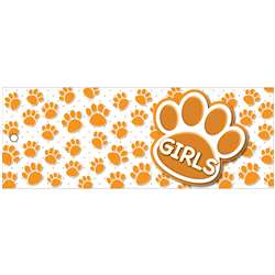 Girls Pass 9X35 Orange Paws 2 Side Laminated, ASH10742