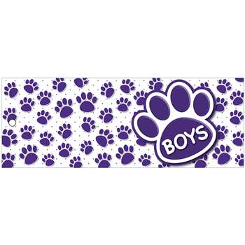 Boys Pass 9X35 Purple Paws 2 Sided Laminated, ASH10743