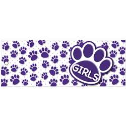 Girls Pass 9X35 Purple Paws 2 Side Laminated, ASH10744