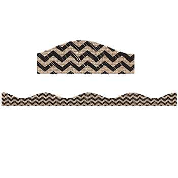 Black Scribble Chevron Burlap Magnetic Border, ASH20004