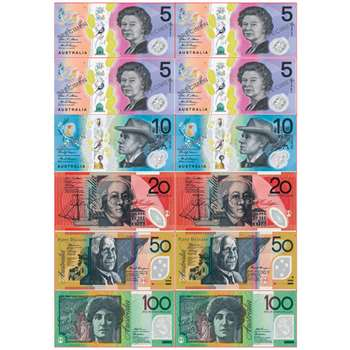 Foam Australian Bills 12 Pcs Manipulatives, ASH40028