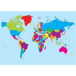 Magnetic World Map Chart Write On Wipe Off 12X17, ASH77013