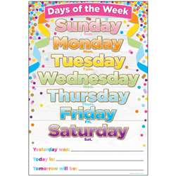 Smart Confetti Days The Week Chart Dry-Erase Surfa, ASH91038