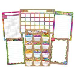 6 Pack Burlap Stitched Class Charts Smart Poly, ASH91206