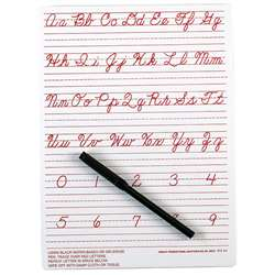 "Traditional Cursive Write-On/ Wipe-Off Board (9"" X 12"") By Ashley Productions"