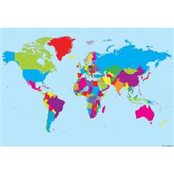 10 Pack Smart Poly World Map Charts Dry-Erase Surf, ASH91801