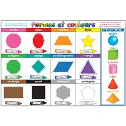Chart French Shapes And Colors Dry-Erase Surface, ASH93010