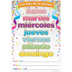 Chart Spanish Days Of The Week Dry-Erase Surface, ASH93600