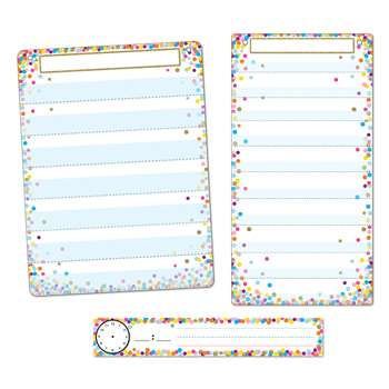 3Pc Confetti Pocket Chart Set Smart Poly, ASH94500