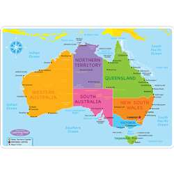 Australian Map Learning Mat 2 Sided Write On Wipe , ASH95032