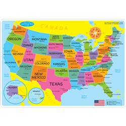 10Pk Us Map Learning Mat 2 Sided Write On Wipe Off, ASH95600