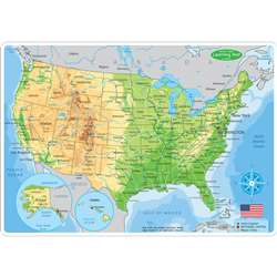 10Pk Us Map Learning Mat 2 Sided Write On Wipe Off, ASH95601