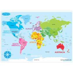 10Pk World Map Learn Mat 2 Sided Write On Wipe Off, ASH95602
