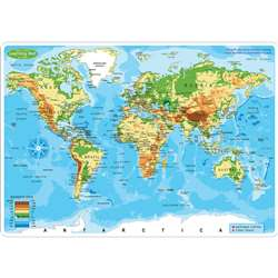 10Pk World Map Learn Mat 2 Sided Write On Wipe Off, ASH95603