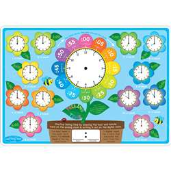 10Pk Telling Time Learn Mat 2 Sided Write On Wipe , ASH95618
