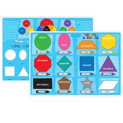 10Pk Colors And Shapes Learning Mat 2 Sided Write , ASH95622