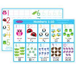 10Pk Numbers 1-10 Learning Mat 2 Sided Write On Wi, ASH95623