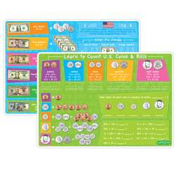 10Pk Us Money & Coins Learning Mat 2 Sided Write O, ASH95627